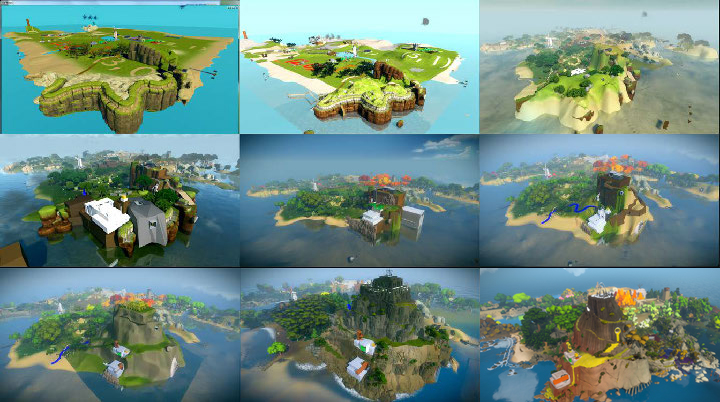 Figure 2: Evolution of the Island through time. (Fletcher Studio/Thekla, 2010-2014).