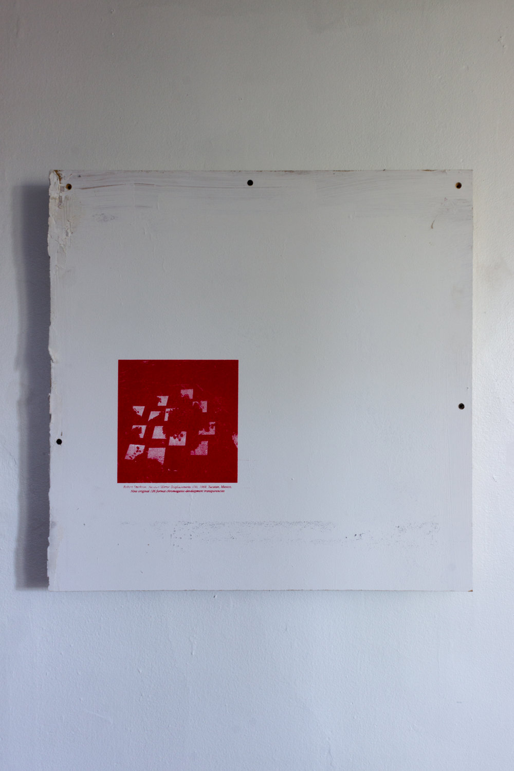 Evan Fusco,  language proposition IV (an image of Robert Smithson's work which exemplifies the mutability if a site through simple means),  2018, screenprint on wall panel