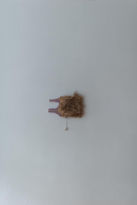 Jacqueline Surdell,  Untitled,  2018, Human hair, insulation.