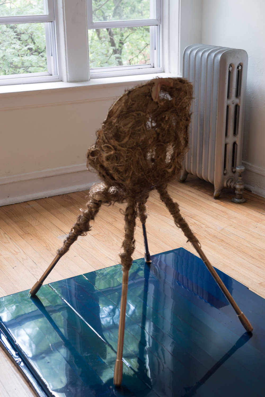 Jacqueline Surdell,  Physical Arc , 2018, Human hair, plastic, paint.