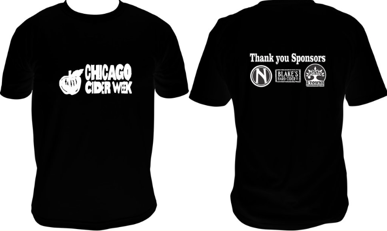 Sizes S TO 4xl aVAILABLE $20+  - Official Chicago Cider Week 2018 Tees & Hoodies