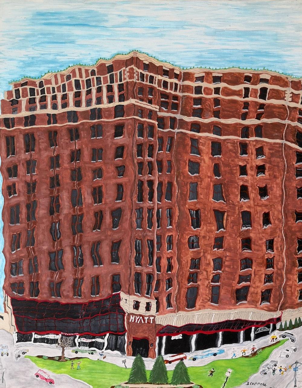 Stephen Coppola, Hyatt, Oil on canvas, 28 x 22 inches (71.1 x 55.9 cm)
