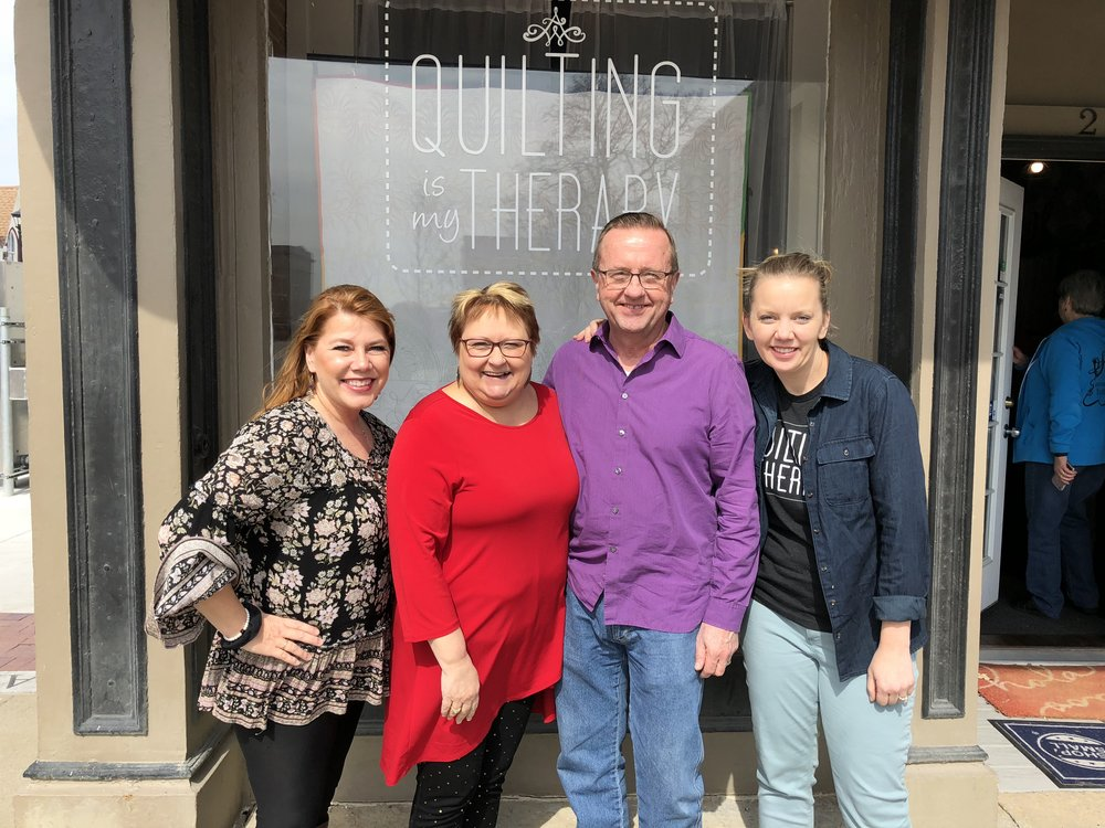 Melissa Kruschwitz of MK Quilts, Julie (CQ), Jim (CQ), and Angela Walters (QIMT)