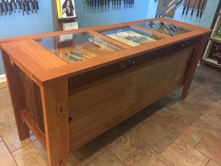Knife Display Case (Reclaimed Cypress Barn wood, Cedar, Glass, Railroad spike) (Coutelier, Nola)