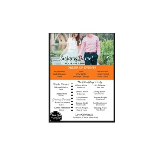 one page wedding program tj card designs