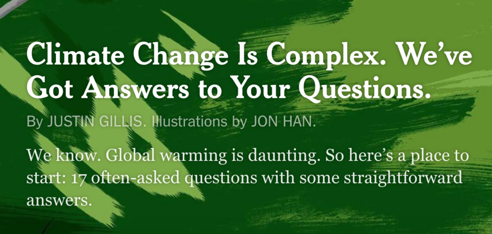 NEW YORK TIMES GUIDE TO CLIMATE CHANGE