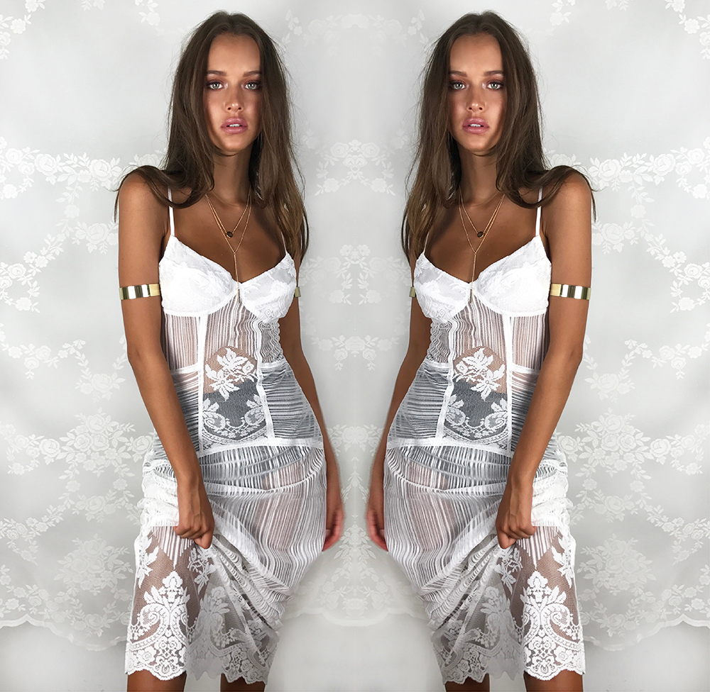 Minkpink Estelle Sheer Lace Maxi Dress