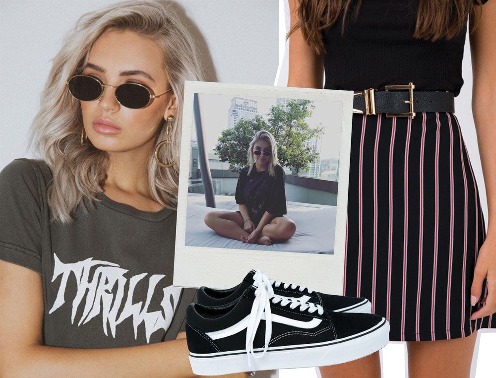 THRILLS CRYPT BAND TEE  //  DEVIL'S KISS MINI SKIRT BLACK  //  VANS BLACK OLD SKOOL