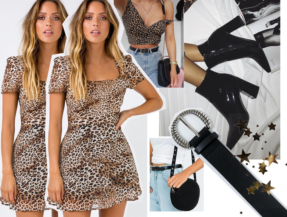 THE MITCHY MINI DRESS LEOPARD  //  THERAPY BLACK PATENT ALLOY BOOTS  //  SILVER WINGS BELT  //  GEORGIA MAE THE LOLA BAG