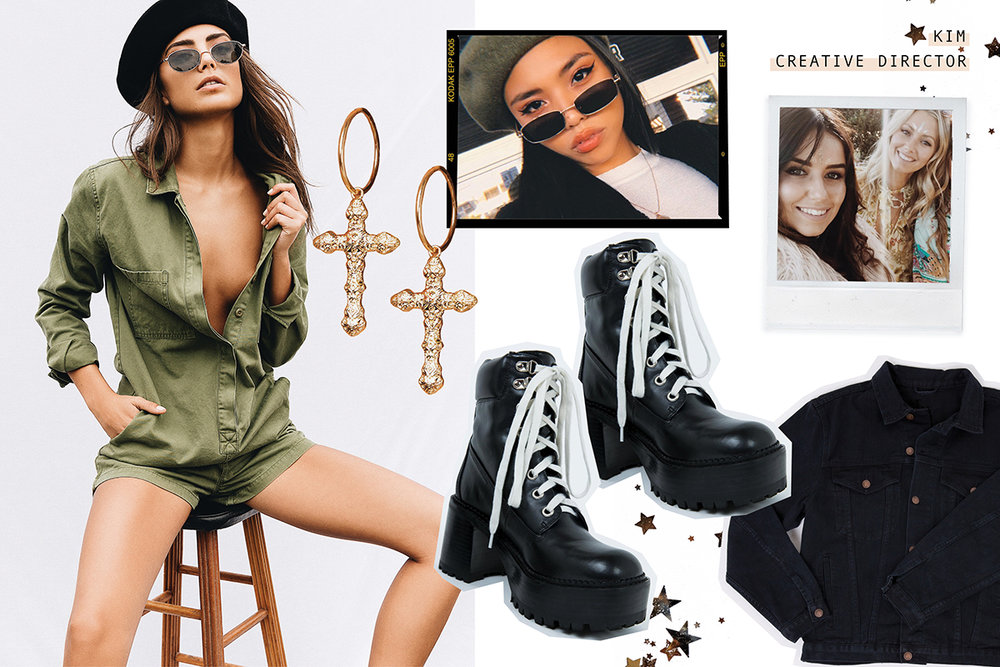 CURRENT MOOD TAKE A HIKE CHUNKY BOOT  //  BLACK FRENCH AFFAIR BERET  //  THRILLS MILITARY ROMPER  //  PHOENIX DENIM JACKET  //  NIRVANA SUNGLASSES  //  YOURS TRULY CROSS EARRINGS
