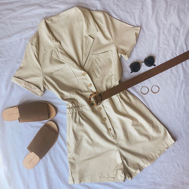 Safari Mode: ON 🌿 Tap to shop the perf vacay fit' 🌿 Nexter Playsuit, Honey Honey Belt, With The Band Sunglasses, Bronx Hoops, Just Because Anjuna Tan Leather Slide