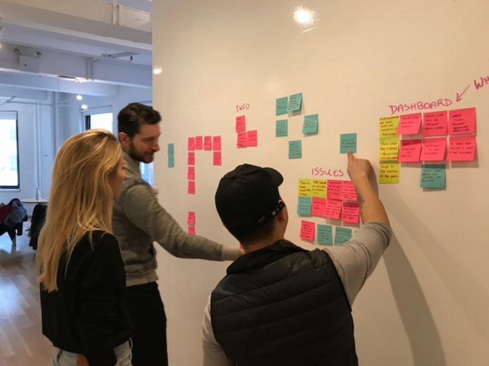 My team and I performing an affinity map to uncover trends from user research.