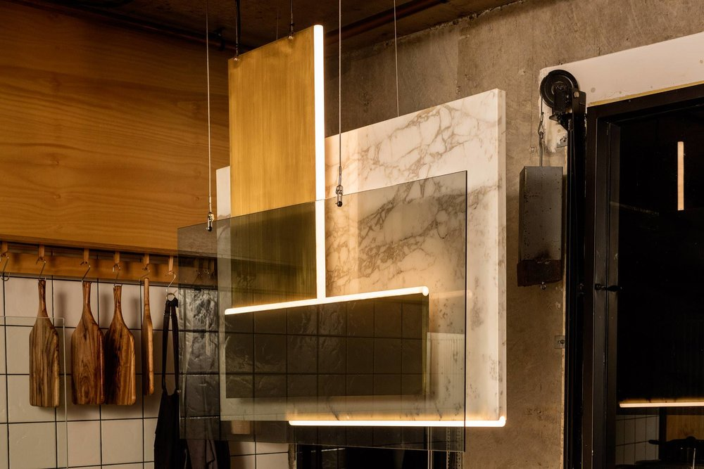 Artful display of glass and brass