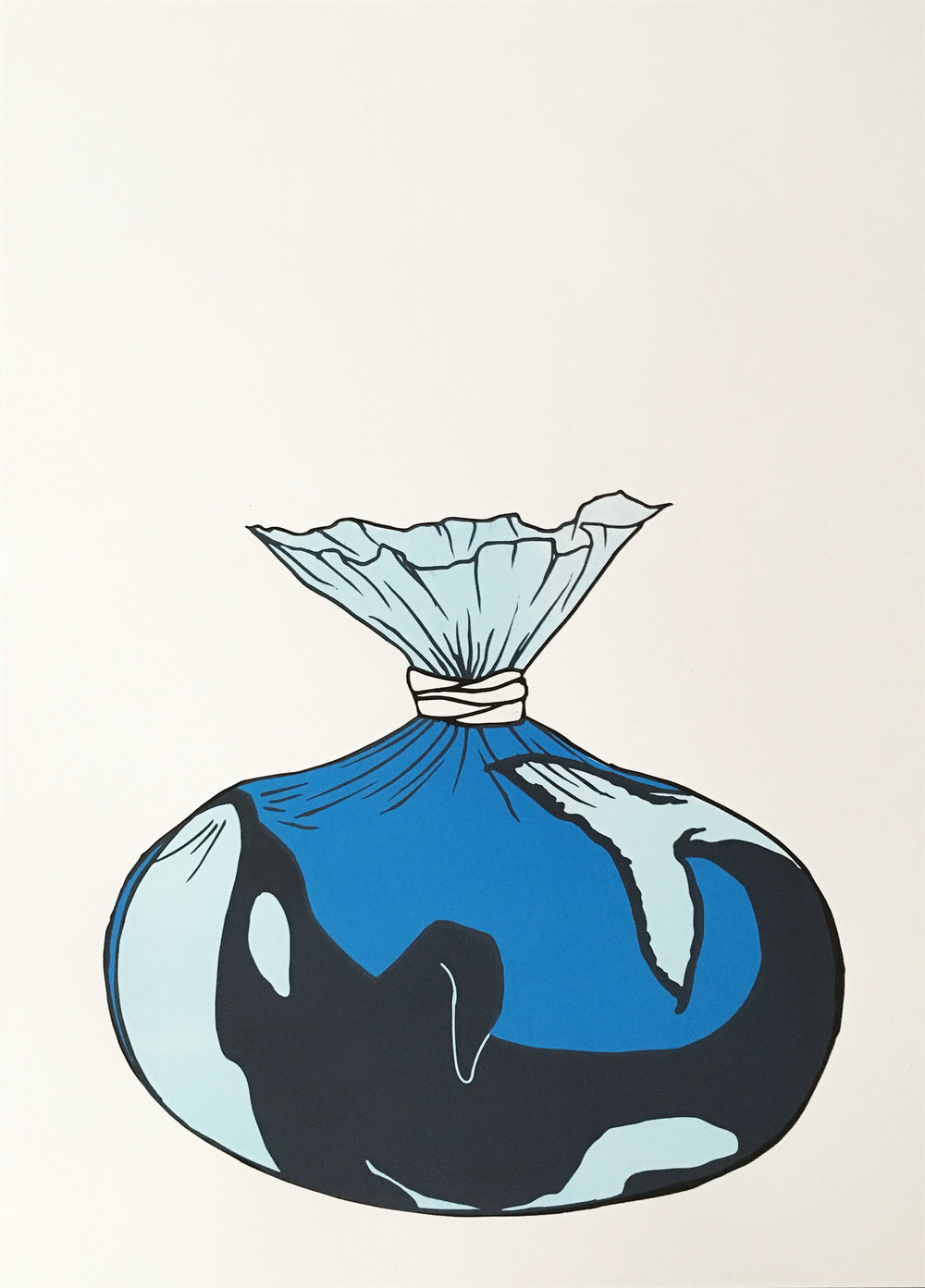 Blackfish  by Yeisy Rodriguez is a three-color screen print that depicts an orca in a plastic bag, comparing it to goldfish given as prizes at fairs.