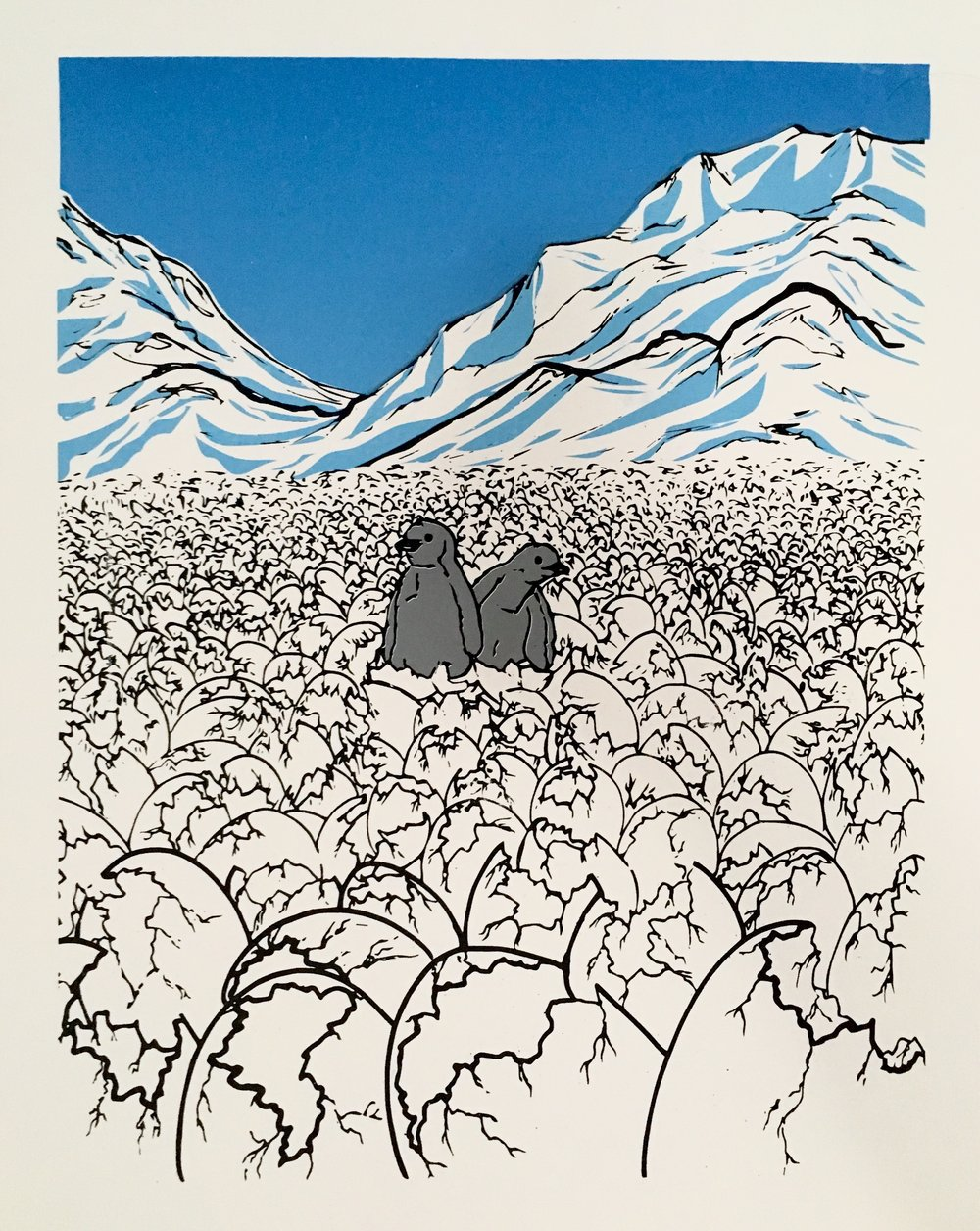 And then there were too  by Yeisy Rodriguez is a four- color screen print based on news that emerged in late 2017 about the thousands of Adélie penguin chicks that died of starvation.