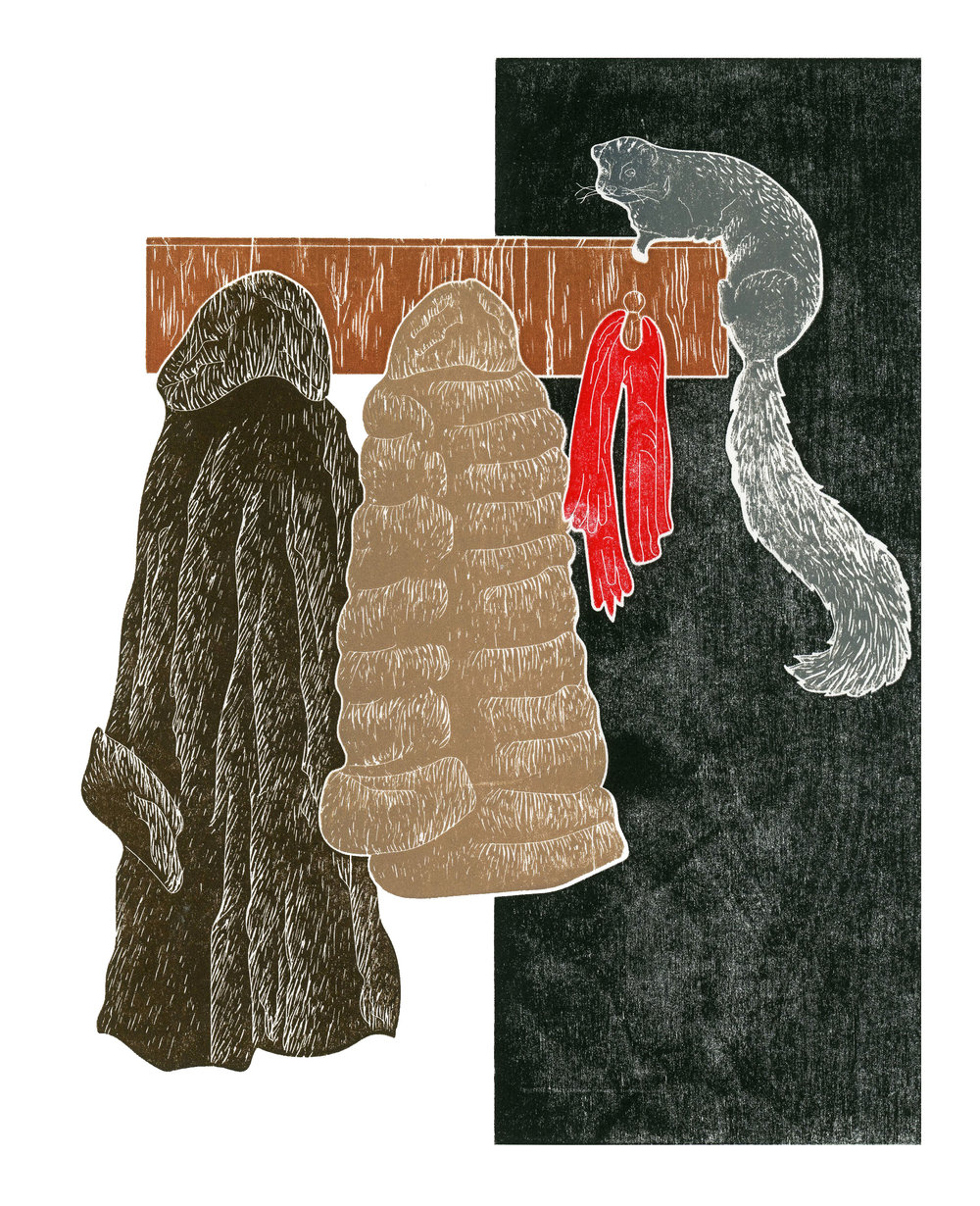 101 Minks  by Yeisy Rodriguez is a woodcut that features two fur coats and a mink. The fashion industry is moving away from the use real fur but the lives of millions of animals are lost every year to the fur industry.