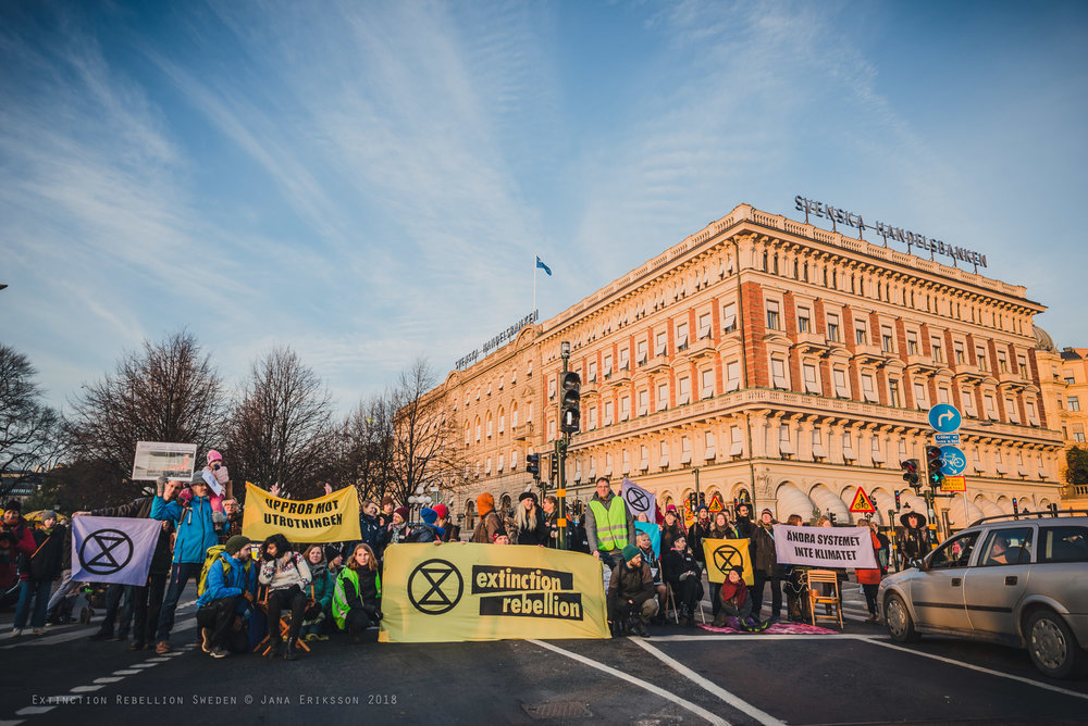 Extinction Rebellion Sweden's first day of protest on November 17, 2018