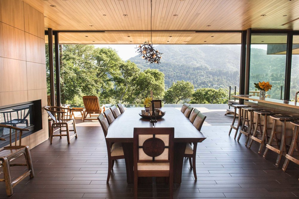 View of landscape through Dining Room