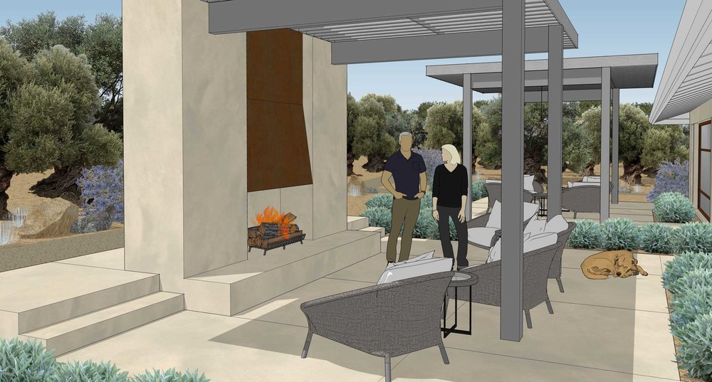 Patio at Fireplace - North