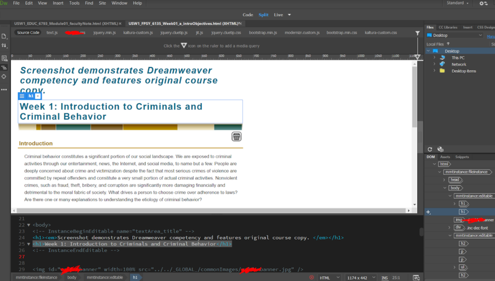 Dreamweaver Competency