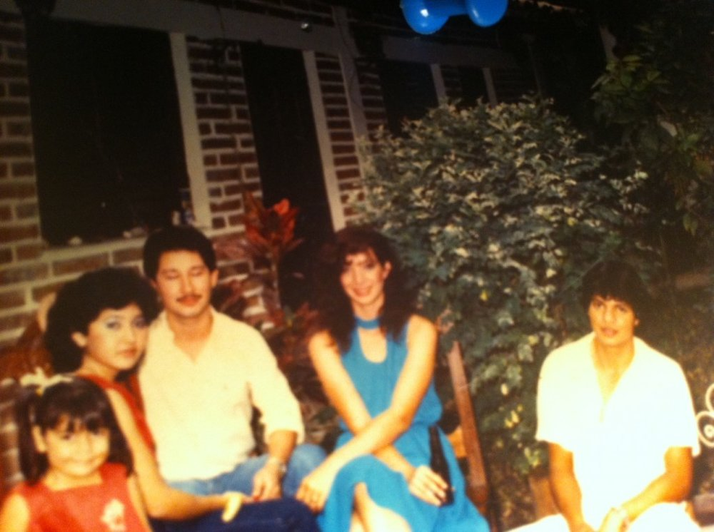 (My mom is the beautiful one in blue.)