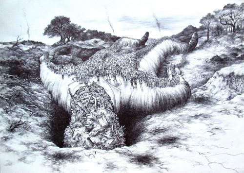 Aris Prabawa – Your Politician, biro on paper, 35 x 25 cm