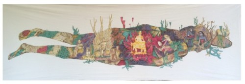 "Bagus ""Gonk"" Prabowo, ""Mangir"" 2015, batik on canvas, 80 x 300cm"