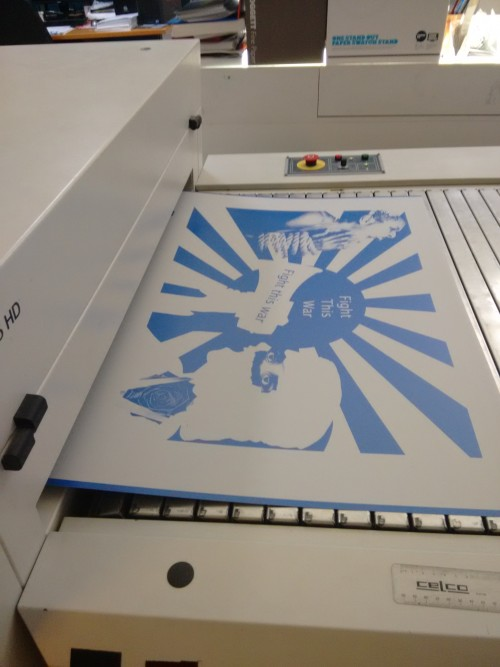 Getting the lithographic plate made up for printing on the Big Fag Press (via Computer to Plate Technology)