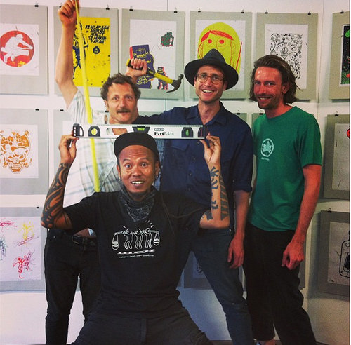 Bayu Widodo with Diego Bonetto, Lucas Ihlein and Adrian O'Doherty setting up for the exhibition at Big Fag Press (photo: Sara Marti).