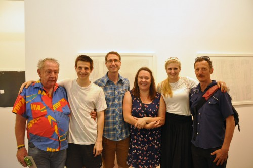 John Demos, Tim Barbarino, Lucas Ihlein, Kris Tito, Louise Anderson and Diego Bonetto at the end of John Demos' Accessible Arts Residency at the Big Fag Press, The Cross Art Projects, Kings Cross