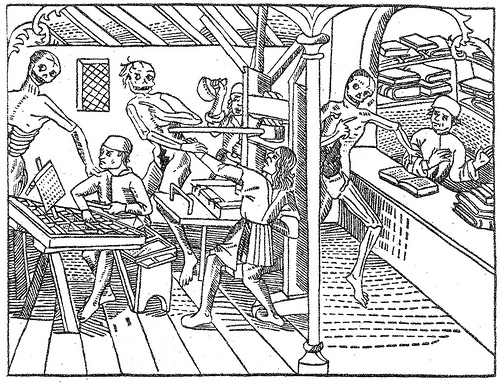 [An early printing office (!), 1499 (from S.H. Steinberg,  Five Hundred Years of Printing  (UK: Pelican, 1955), plate A.]