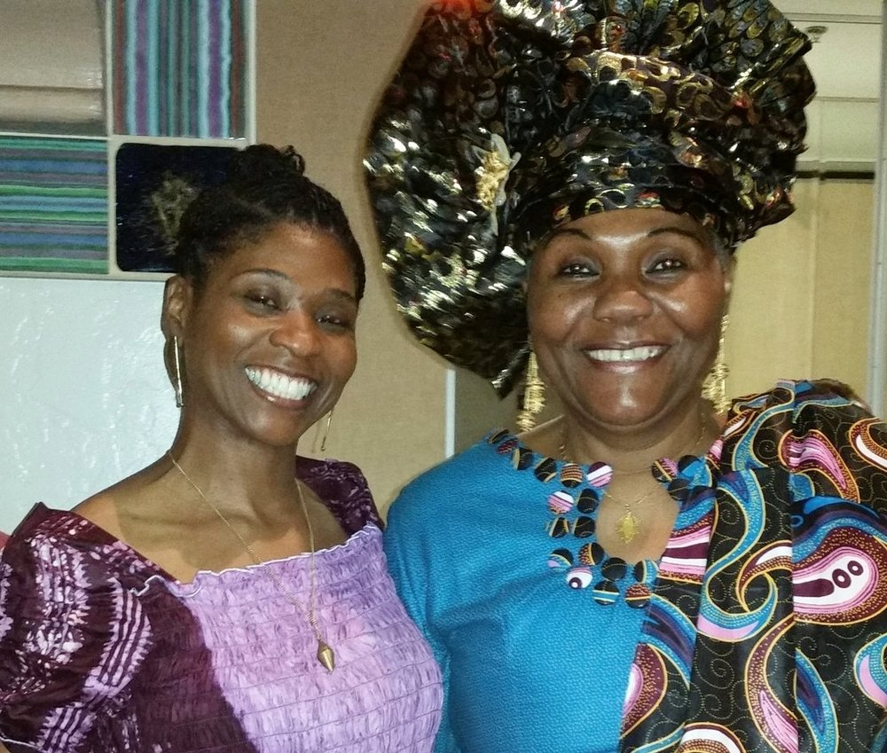 Farcia with her teacher and mentor Naiomi Diouf (Artistic Director of Diamano Coura West African Dance Company).