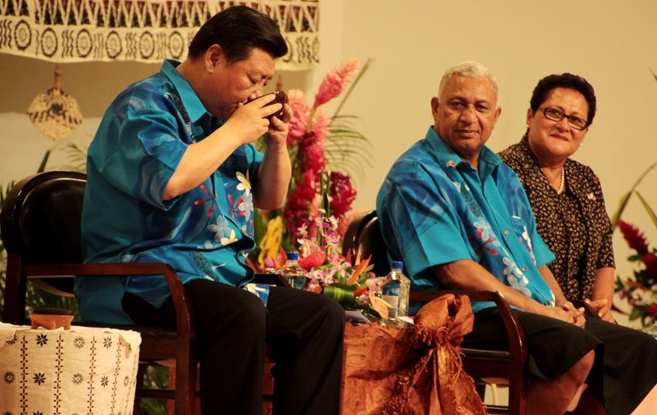 President of China drinking a large cup of kava in Fiji (2017)
