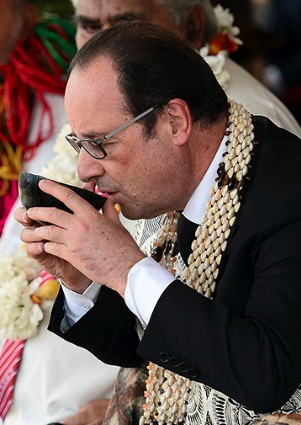 Former President of France drinking kava on Wallis