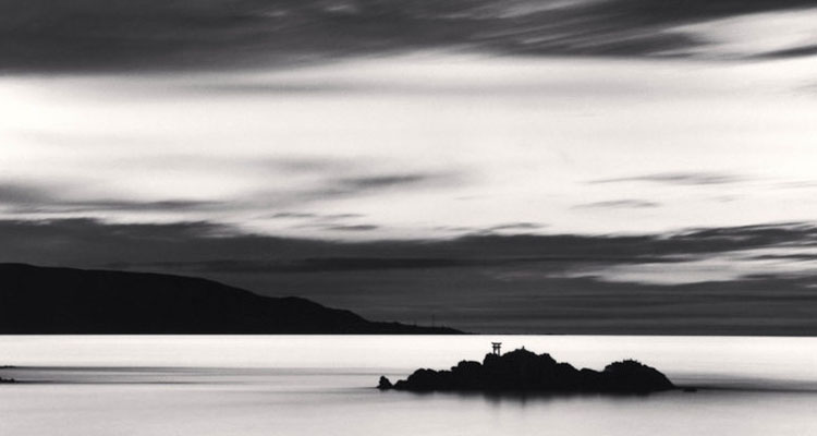 Dusk Island Shrine, Suttsu, Hokkaido, Japan, 2002. Photo by Michael Kenna