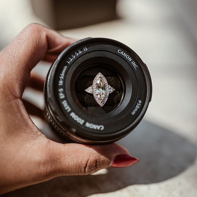 New blog post & last ring post... maybe. I'm not making any promises. I answered some of your questions in a new blog post. Check it out. Link in profile (chasingdenisse.com). I shared how we met, a bit of our journey and some of our engagement. Like one of my favorite details aside from this magical ring by @izandco, was this ring box by @designskelo. It's a repurposed #canon Lens and honestly it's just a testament of how attentive to details and how thoughtful @nofacechase_ is. I truly am the luckiest person ever. Go check it out and see more ring pictures that I had to stop myself from posting cause I'm not trying to be that girl but I don't know... these pics are pretty sweet 💎 #justmyricked #engagementring #theknot #greenweddingshoes