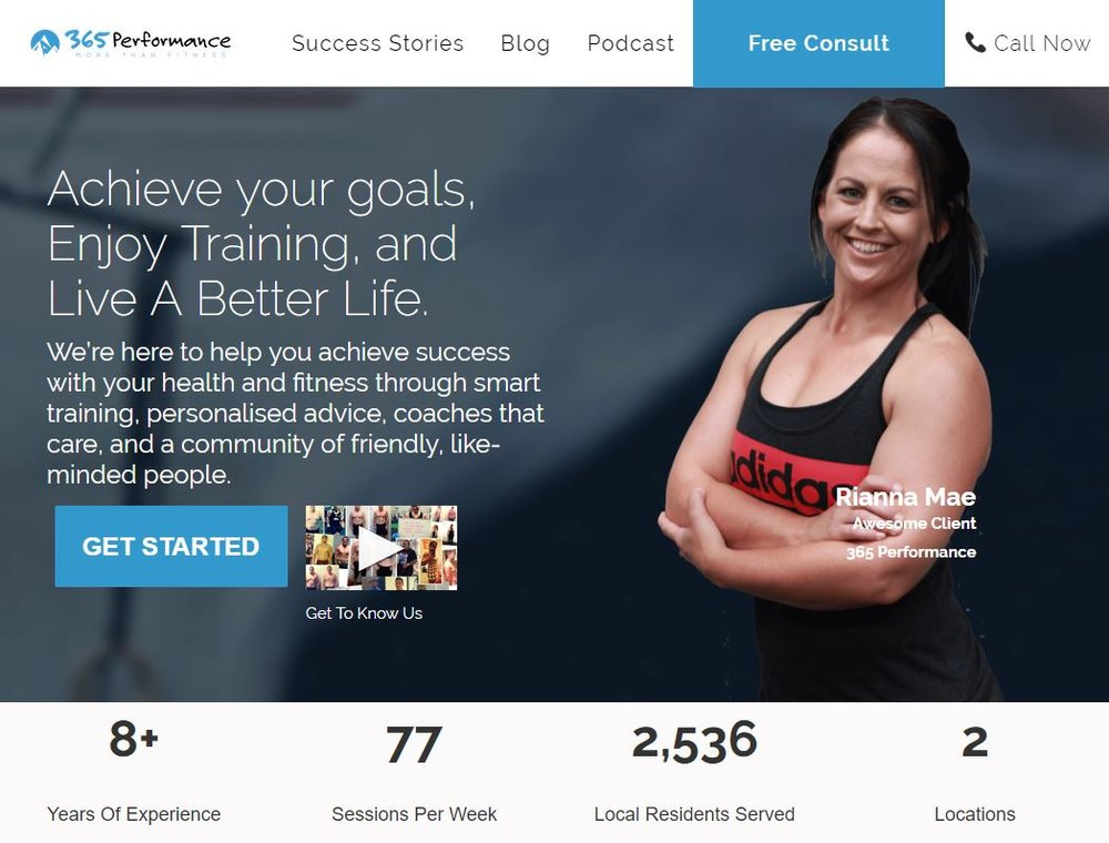 Gym and Fitness StoryBrand Website Example : 365 Performance