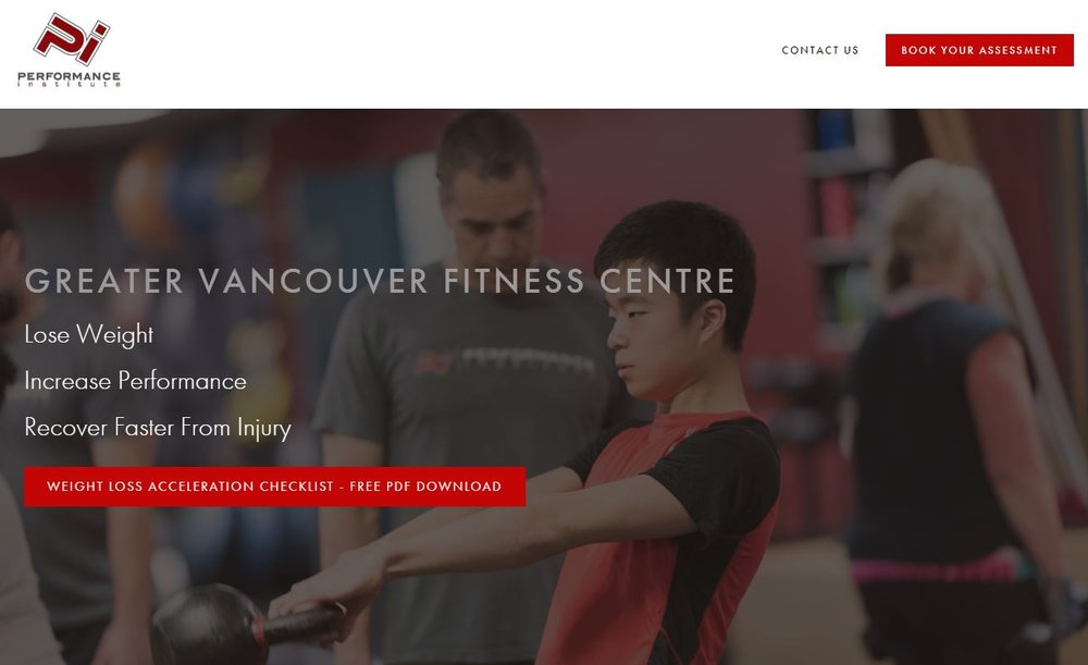 Gym and Fitness StoryBrand Website Example : Performance Institute