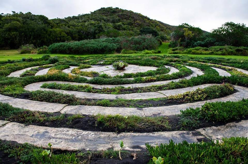 Bodhi Khaya's Labyrinth is exquisitely crafted in harmony with the floral eco-system, and incorporates fynbos, aloes and other indegenous plants within its rings.