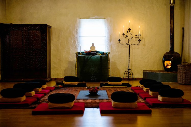 The Meditation and Yoga Hall's warmth, views, style and ambiance creates a sense of home, safety and holding.