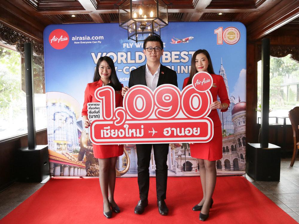 คุณสุรพันธ์ หอมขจร ผู้จัดการสายการบินไทยแอร์เอเชีย ประจำท่าอากาศยานเชียงใหม่ ร่วมแถลงข่าวเปิดเส้นทางบินใหม่ เชียงใหม่-ฮานอย