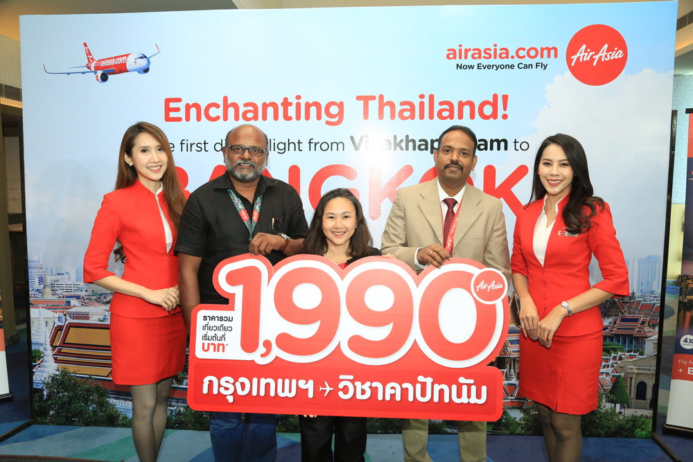 (2nd from left to right) Mr. Rajesh Damodaran , AirAsia India Station Manager of Visakhapatnam International Airport, Ms. Cholada Siddhavarn, Director of Tourism Authority of Thailand in Mumbai, and Mr.Rajkumar Paranthaman, AirAsia India Head of Marketing,  witnessed the Thai AirAsia's Launch of direct flight Bangkok-Visakhapatnam. The service will be 4 flights weekly, starting from 7th December, 2018 onwards