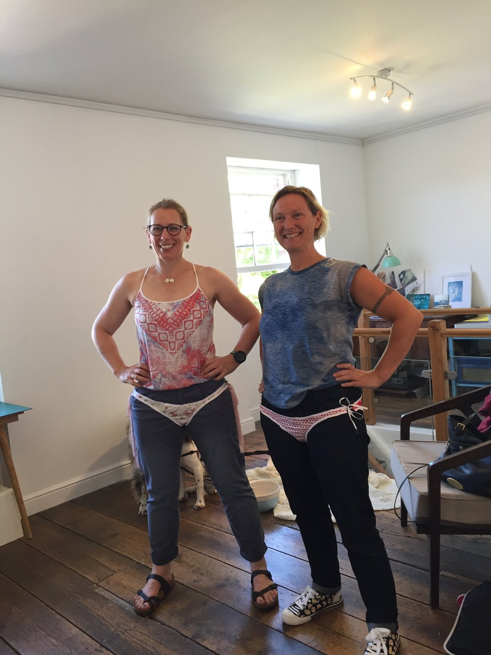 Making pants with ocean swimmer Beth French. Thanks to Bex Hughes for getting oceans and mountains in the same room!