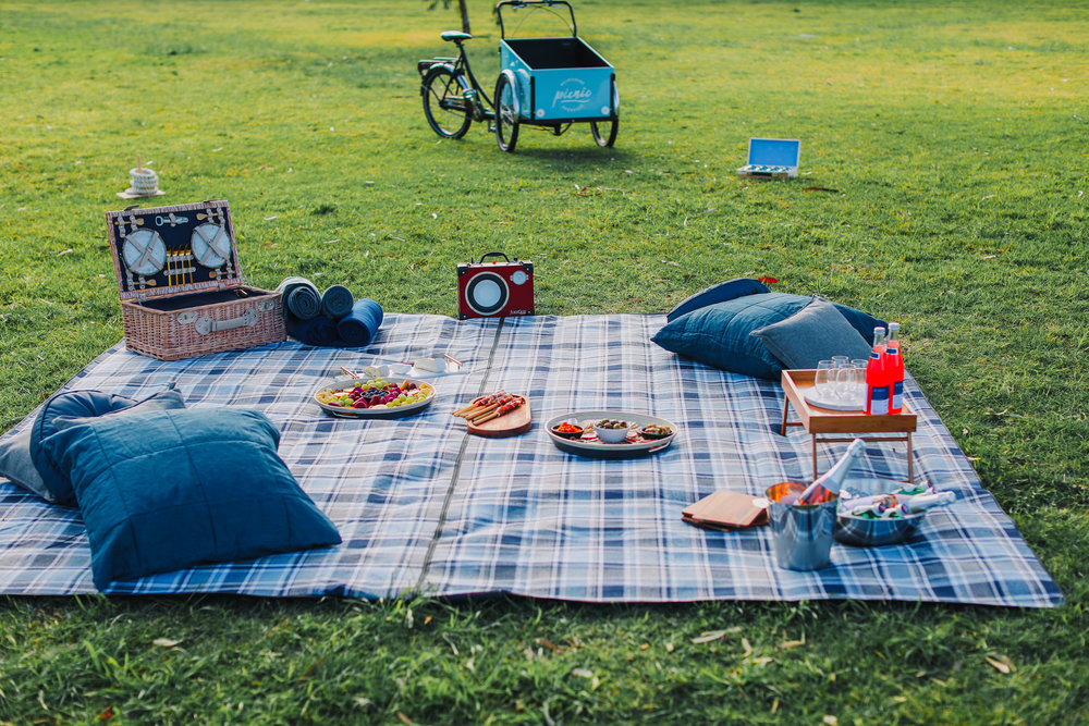 PICNIC FOR 4 - 6 PEOPLE - Settle into a beautifully styled picnic at Princes Park in Carlton. We provide an extra large picnic blanket, picnic basket, cushions and low folding tables. This package comes with a large platter filled with cheese, cured meats, crisp breads, fruits, nuts and condiments. Additionally, we provide a large platter filled with seasonal fruits, sweets, 2 large bottles of San Pellegrino sparkling water and 2 bottles of sparkling Rosé. All of our picnics come with complementary picnic games.