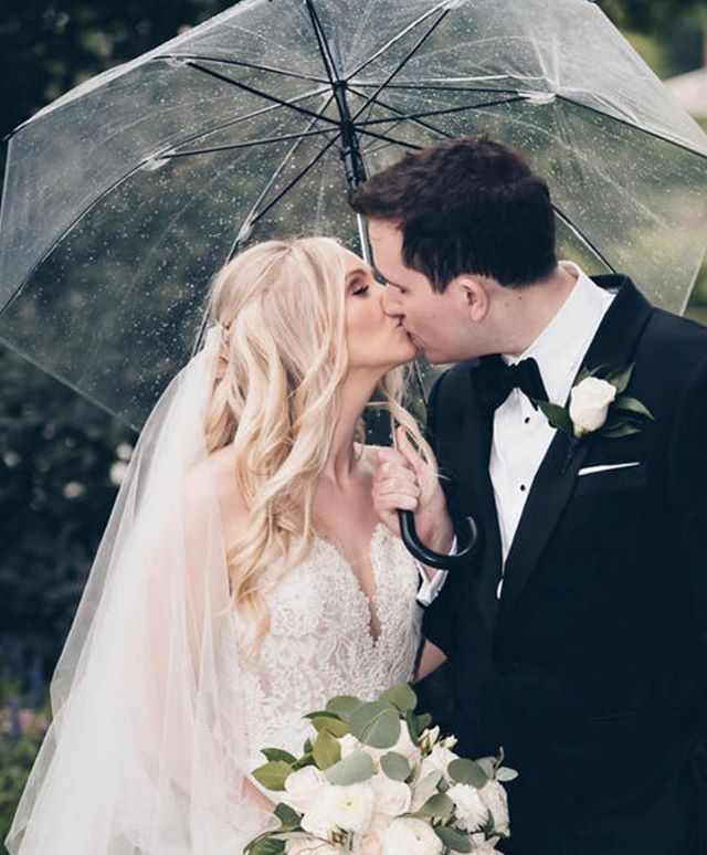 Not even a little rain could stop the beauty of this day! Coordination: @kimberlypaigeevents  Photo+Video: @deanmichaelstudio  Hair+Makeup: @melissa_daloia_co  Venue: @brooklake_nj  Florals: @marquisfloralsbykim  DJ: @elegantmusicgroup @emg_tommy  Cake: @la_prom  #wedding #weddinginspo #weddingdecor #weddingphotography #weddingdress #weddingplanner #njweddingplanner #weddingplanning #married #theknot
