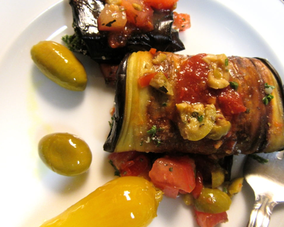 EGGPLANT ROLLS WITH ALMOND PARSLEY STUFFING
