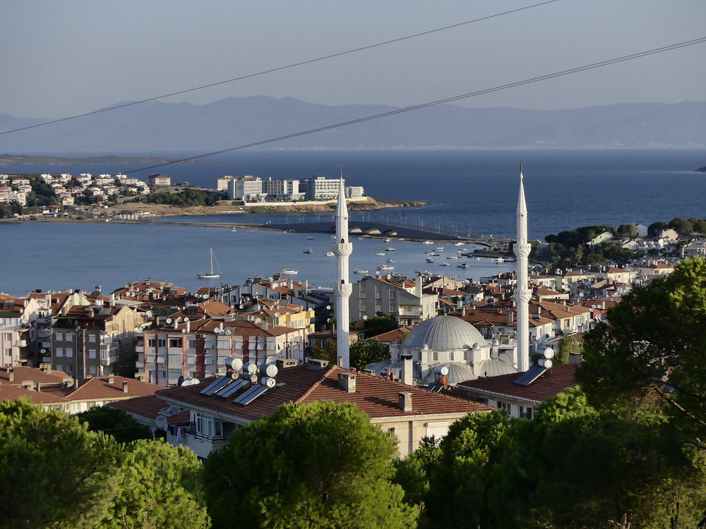 Ayvalik with view to the bridge and Cunda Island