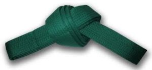 Green belt - Green is first level of the senior colours.The green belt is now more aware of his unique discriminating intelligence and the importance of benevolence and compassion. He would realize that power without wisdom and compassion is destructive, dangerous and callous. Just as Sosai states: strength without justice is violence; justice without strength is impotence.The green belt would, by now have excellence in all his basic techniques, basic movement patterns, and be able to deliver all required kata. He learns to combine his technique with speed and strength that has been developed through hard training.At this level, all green belts should work on the power aspect of karate. Kyokushin is power karate. The green belt should be able to demonstrate this power.Sensitivity and timing- one must learn to feel the opponent's intentions and balance, and how to time the use of techniques for maximum effect. You should also look into advanced technical concepts and methods; finds personal likes which you will begin to adopt into your own karate.Remember, actions are reflexes, not premeditated moves. A technique happens naturally, without thought.The green belt should have glimpses of the state of mind known as zanshin, where the body acts perfectly without conscious effort.Every green belt should strive to develop a mature and fearless attitude in kumite, while mastering a deceptively calm and unassuming approach to self defence and daily life.