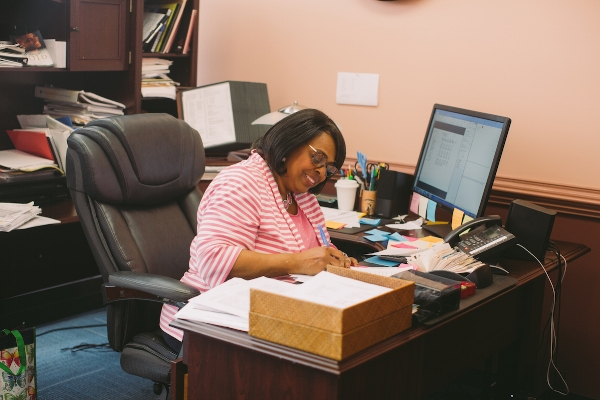 Turner works in her office during a rare moment when she's not in a meeting or resolving an issue.  Photo by Noah Turley.