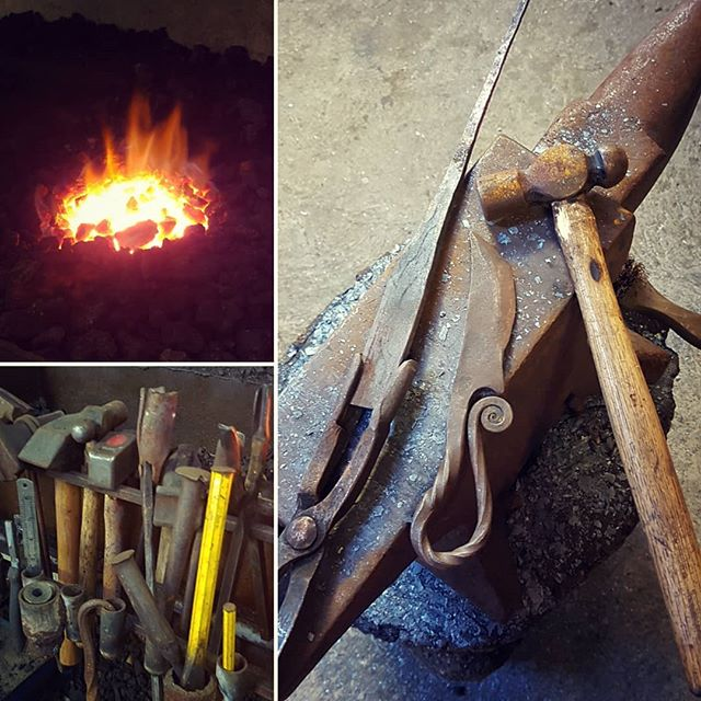 The process of heating up the metal and hammering it into shape.  In the photo on the right the finished knife is an example I was following.